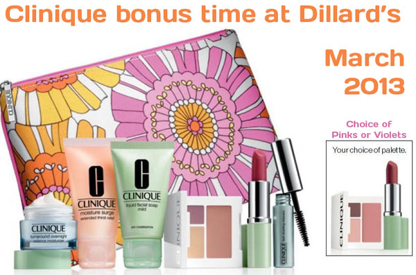 Clinique bonus time at Dillards in March 2013