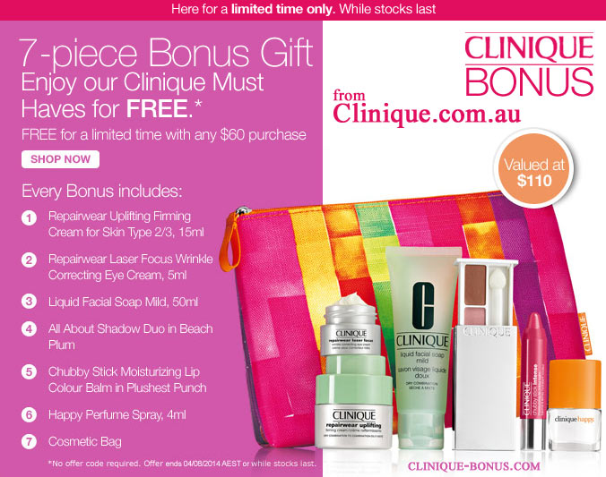 Clinique promotions at Bergners, Boston Store, Elder-Beerman ...