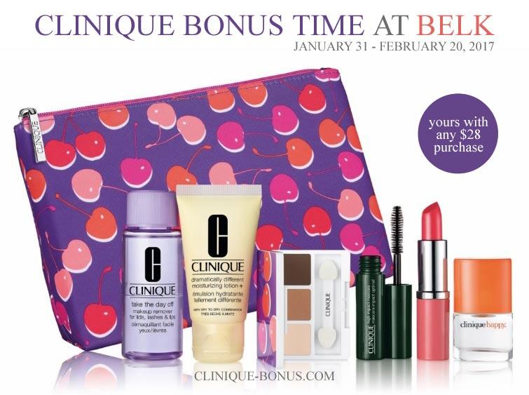 Clinique bonus times at Belk in 2017