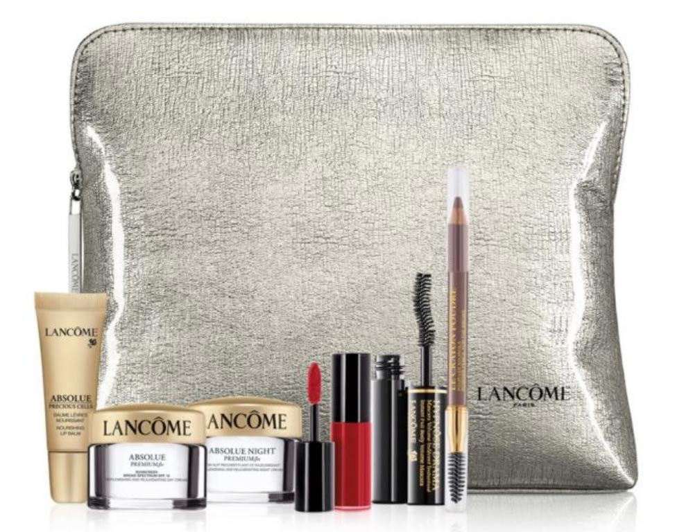 Today there are several great new Gifts with Purchase (two brand new and two we have seen before): Lancome Gift with Purchase at Macy's. Online and in store while supplies last with any $35 Lancome purchase you will receive a free six piece gift valued at up to $