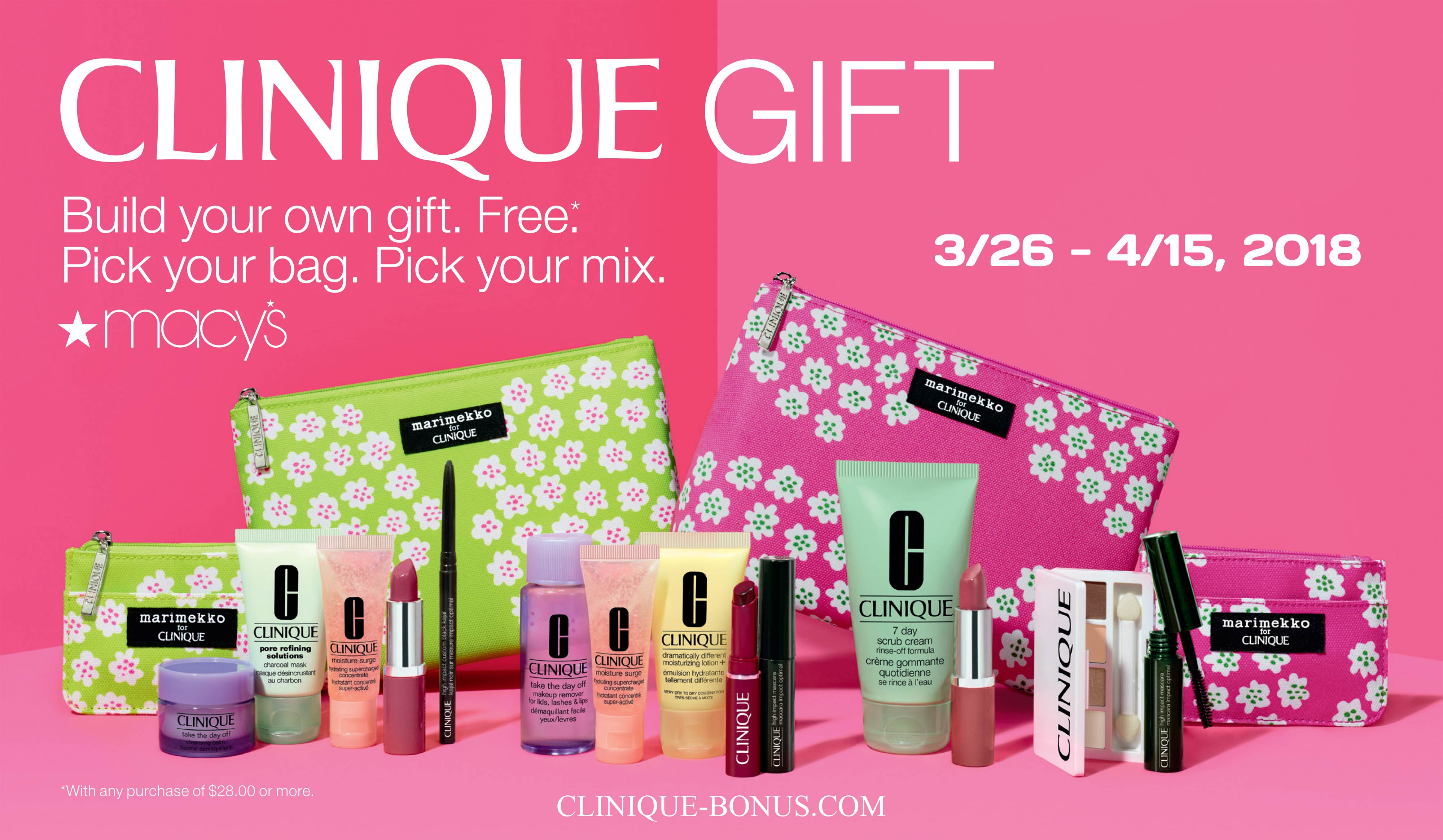A free gift with any $28 Clinique purchase