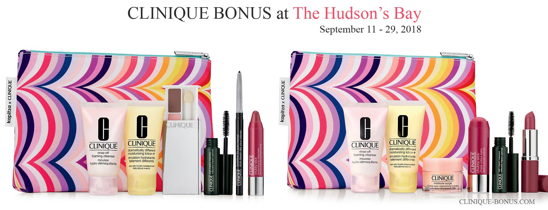 Choose your free 7-piece gift with any C$39 Clinique purchase. There are 2 variants of the gift: Easy looks for standout eyes OR Perfect Pairings: Lips and ...