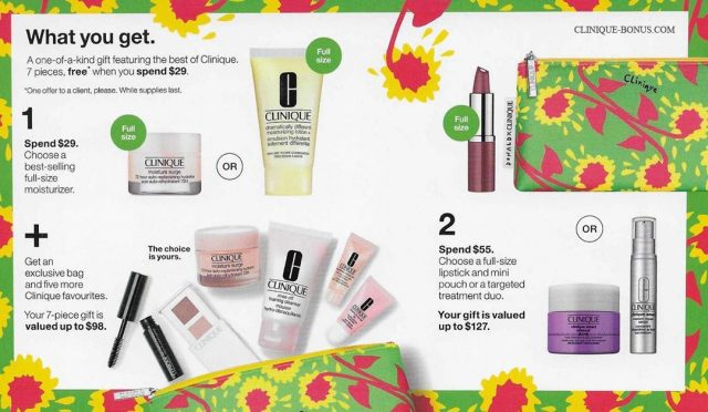 Items and choices in the Clinique spring 2020 gift at Dillard's